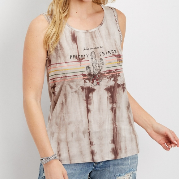 MAURICES XS BROWN TIE DYE WESTERN TANK